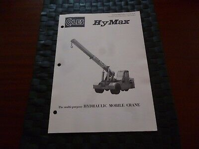 Coles Hymax Hydraulic Mobile Crane Technical Spec 7712/6/72 Leaflet *as Pictures