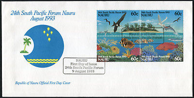 NAURU 1993 24th South Pacific Forum, SET OF 4, USED, on FIRST DAY COVER
