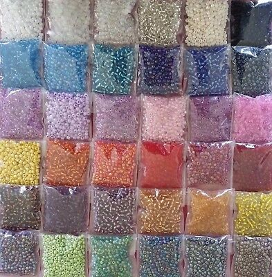 10x Bags - Size 6 Glass Seed Beads - 4mm - 200g - Bulk Mixed Selection