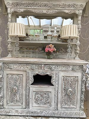 Exquisite Heavily Carved Green Man Antique Mirrored Dresser