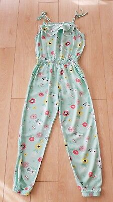 Girls All In One / Overalls Green Floral, Size 14