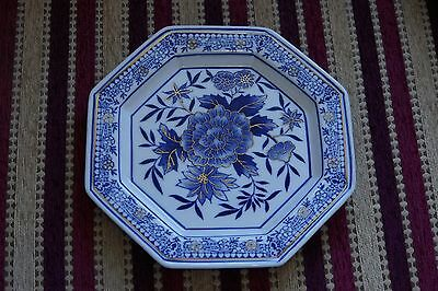 Hexagon shaped blue white and gold decorative plate