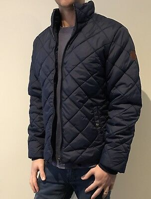 Men's Blend Quilted Puffer Jacket - Blue Size Small
