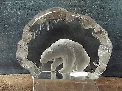 Mats Jonasson Intaglio/Etched Glass Large Paperweight, Signed and Numbered