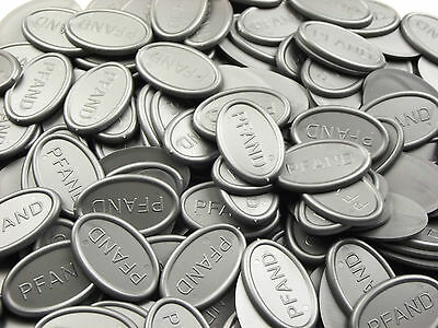 Deposit Coins Tokens Beverage Oval - Silver Grey Metallic Quantities Selectable
