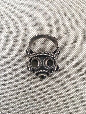 Vintage Antique Hallmarked Poison Locket Sterling Silver 925 Poison Ring Mexico
