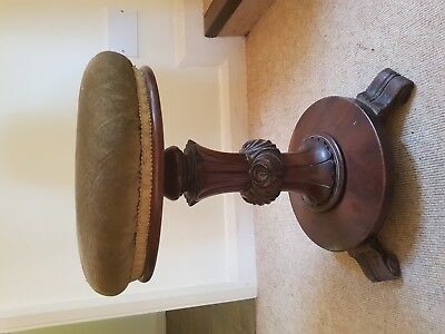 antique Victorian revolving piano / dressing table stool adjustable