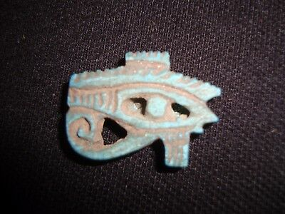 Rare Antique Ancient Egyptian Faience Eye of Horus Amulet 600-300 B.C.