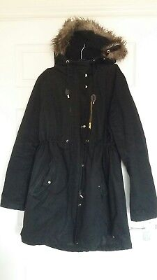 h&m black maternity parka coat XL 18/20