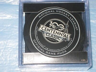 1917 - 2017 NHL CENTENNIAL CLASSIC LEAFS v RED WNGS  OFFICIAL GAME PUCK NHL