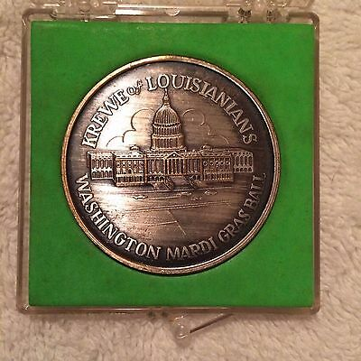 1979 Krewe of Louisianians Oxidized Silver Doubloon Washington DC Mardi Gras