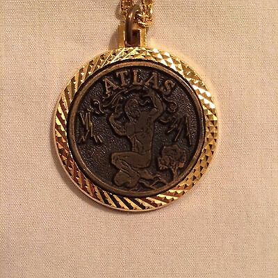 Atlas Antique Bronze Doubloon with bezel and chain