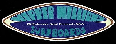 NIPPER WILLIAMS 1970s Surfboard Manufacturer NSW Sticker Decal LONGBOARD Surfing