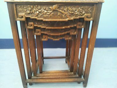 Vintage antique,hand carved pannels,  Chinese set of four stacking tables