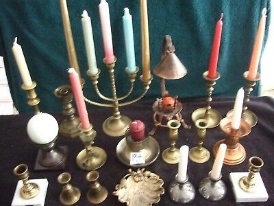 BRASS CANDLESTICK HOLDERS LARGE LOT OF 19 pcs. Great buy for less!!!