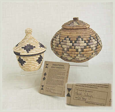 2 Vintage ZULU Lidded HANDWOVEN Baskets ~ SIGNED Authenticity Certificate ~ EUC