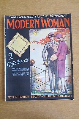 Very Rare Modern Woman Magazine November 1926 With Free Gifts/Pattern