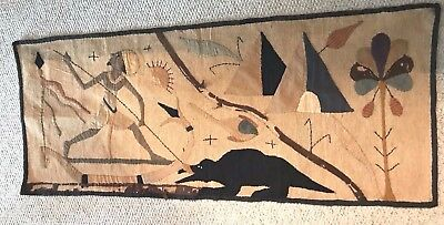 ANTIQUE EGYPTIAN 1930s TEXTILE COLLAGE APPLIQUE HAND STITCH WALL HANGING ART