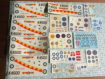 Lot1 - RARE 1/72 Decals for: RAF Airfix Demon (5 sheets) & Hudson; Fury; Tempest