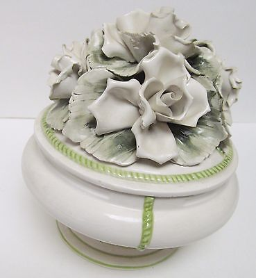NORA FENTON Italian Art Pottery Floral Lidded Bowl Dish Storage Signed Numbered