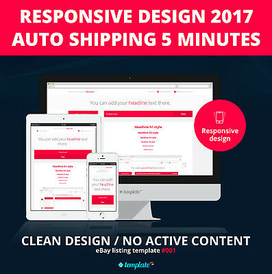 Professional responsive eBay listing template design / 2017 / Shipping 5 minutes