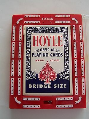 Vintage Red Hard Plastic Hoyle Travel Cribbage Set -Original Card Deck