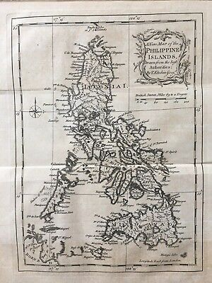 1765 Philippines Map By Thomas Kitchin 252 Years Old Original Antique