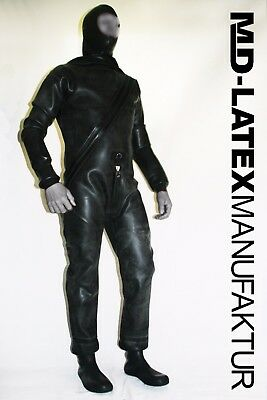 "MD-LATEX ""Black Drysuit"" - 1,6mm Latexanzug Ganzanzug Latex Heavy Rubber"