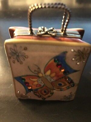 "Limoges France Peint Main Trinket Box Shopping Bag ""Butterfly"""