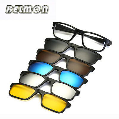 Fashion Optical Spectacle Frame Men Women Myopia With 5 Clip On Sunglasses Polar