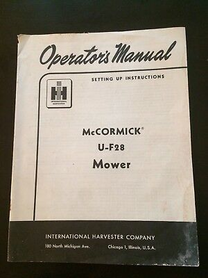 International Harvester McCormick U-F28 Mower Operator's Manual