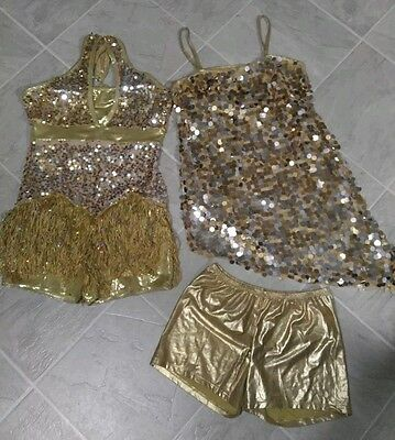 Weissman gold sequin dance dress costume twirler jazz highstepper costume