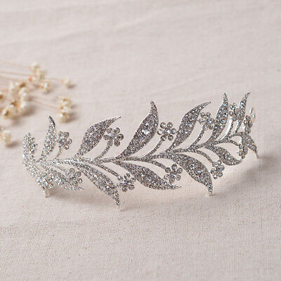 New Crystal Leaf Alloy Delicate Tiara For Bride Headdress Crown Wedding Hair Jew