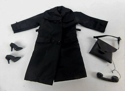 Vintage Gilbert Honey West Outfit Black Trench Coat Handbag With Phone And Shoes