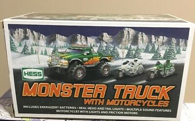 2007 Hess Monster Truck With Motor Cycles NIB