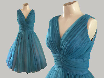 Vintage 1950's Teal / Turquoise Ciffon Party Prom Dress Size S