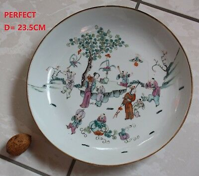 perfect 23.5CM CHINESE porcelain plate 19th c. famille rose GARDEN SCENE