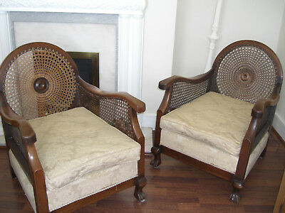 Pair of Antique Bergere Armchairs in Mahogany