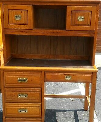 Vintage Young & Hinkle Oak Leather Brass Top Desk Hutch Outrigger Collection