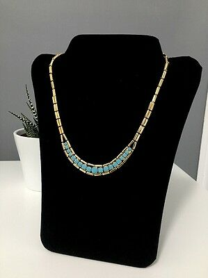 Vintage Style Gold Necklace With Turquoise Stones