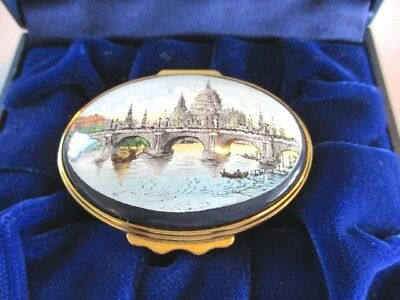 Rare St. Paul's Cathedral Old Waterloo Bridge Halcyon Days English Enamel Box