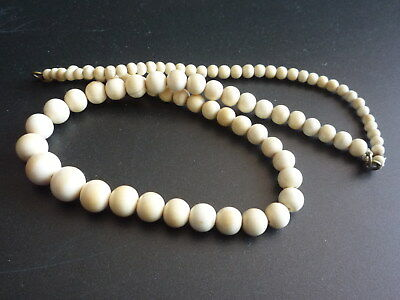 Antique Oriental Chinese Bovine Bone Hand Carved Beads Necklace