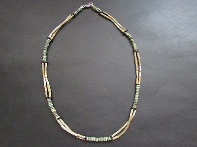 NILE  Ancient Egyptian Faience Amulet Double Strand Mummy Bead Necklace  600 BC