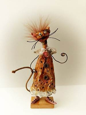 OOAK Cat Doll Primitive Paper Sculpture Cat Funny Gift Handmade Doll Animal