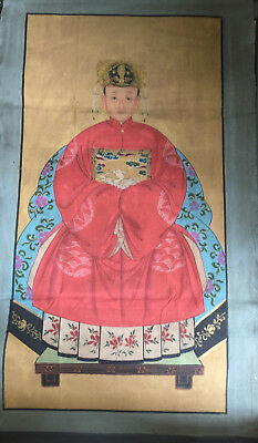 China old painting scroll emperor QianLong Qing Dynasty vintage antique   woman
