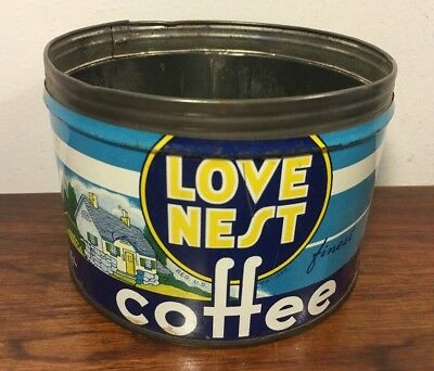 Vintage Love Nest New Wind Coffee Tin Can New York NY 1 Lb