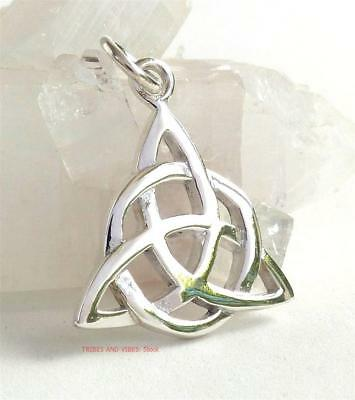 Celtic TRIQUETRA Trinity Knot Pendant Sterling Silver Triple Moon Goddess Wiccan