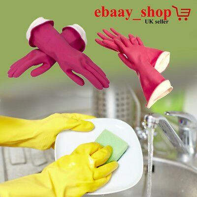 Dish Washing Rubber Gloves Latex Kitchen Dishes Cleaning 1 Pairs Household UK