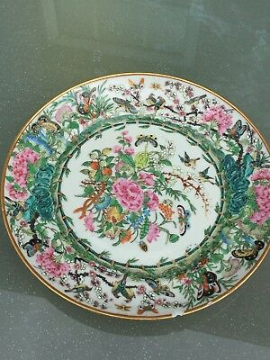 Antique 19c quality Chinese Famille Rose Plate Signed