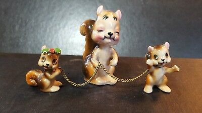 Vintage Squirrel Family with Chains ~ Mom And Babies Porcelain figurines